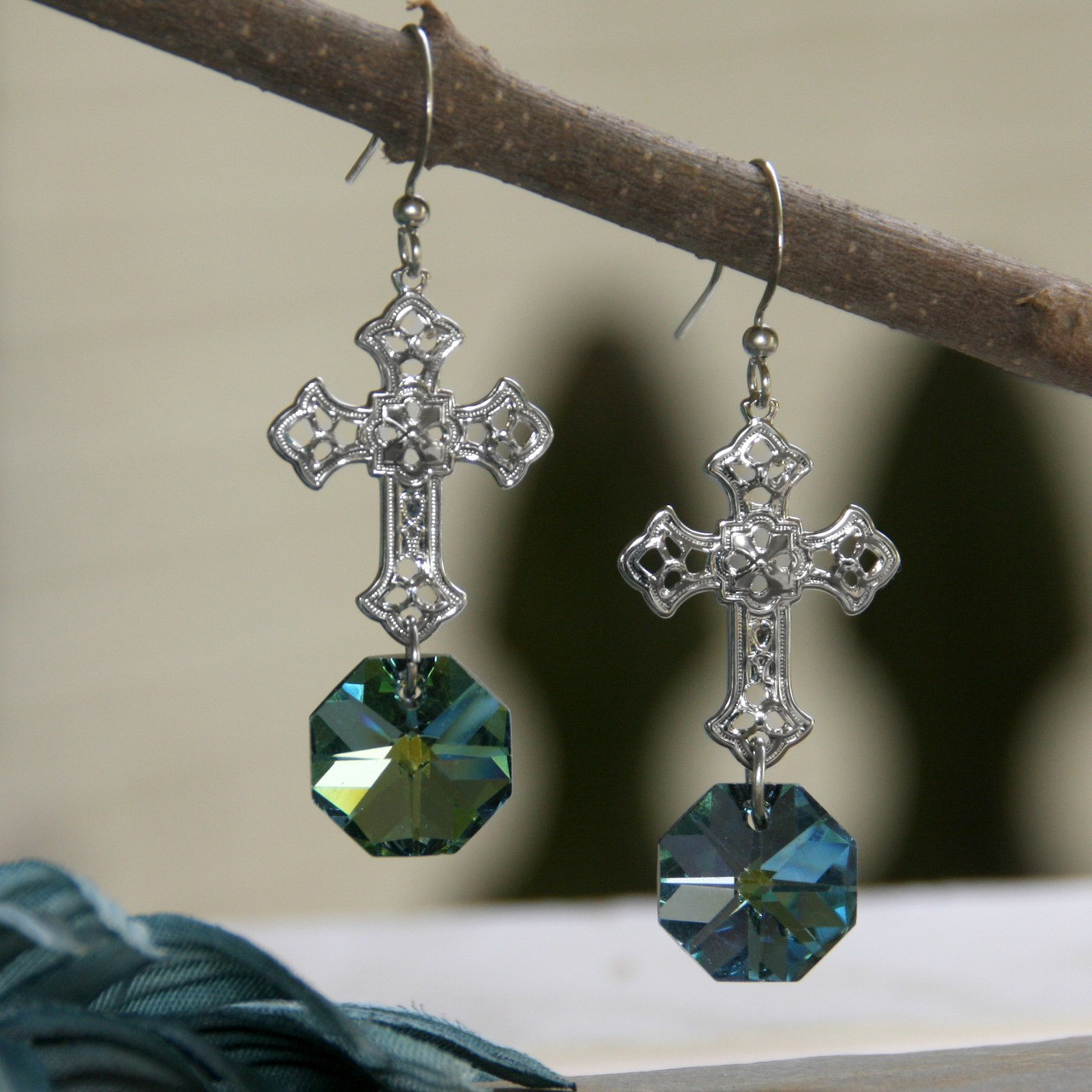 de65ff839 IN-59 WOW Fabulous Color Crystal Filagree Cross Earrings - Collectables The  Studio