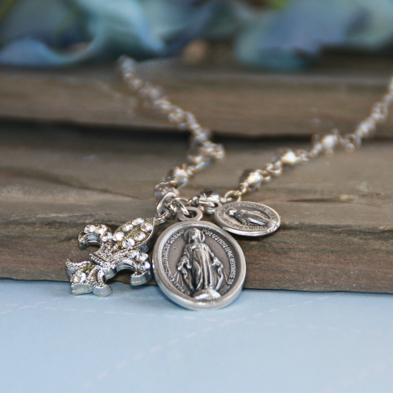 IN-545  Mary Medals and Fleur de Lis Necklace