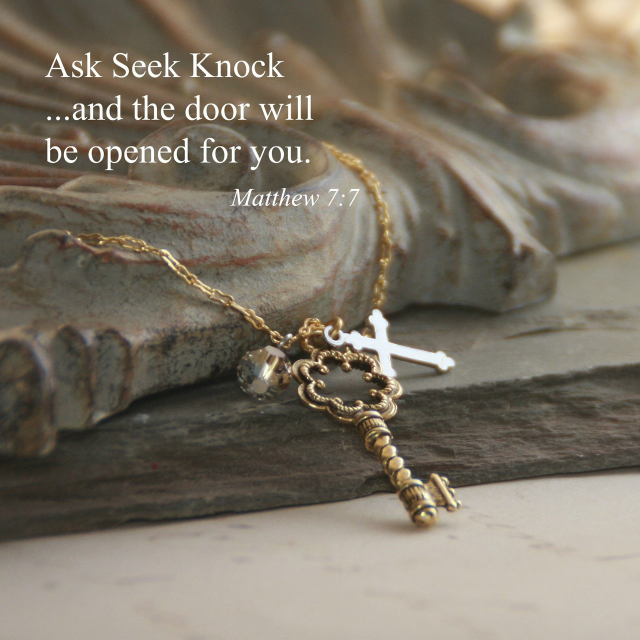 IN-535  Ask Seek Knock Necklace