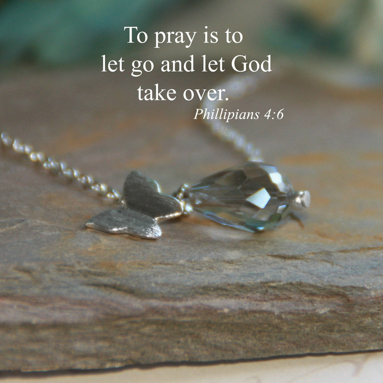 IN-537  Pray and Let God take over Butterfly Necklace Silver-tones