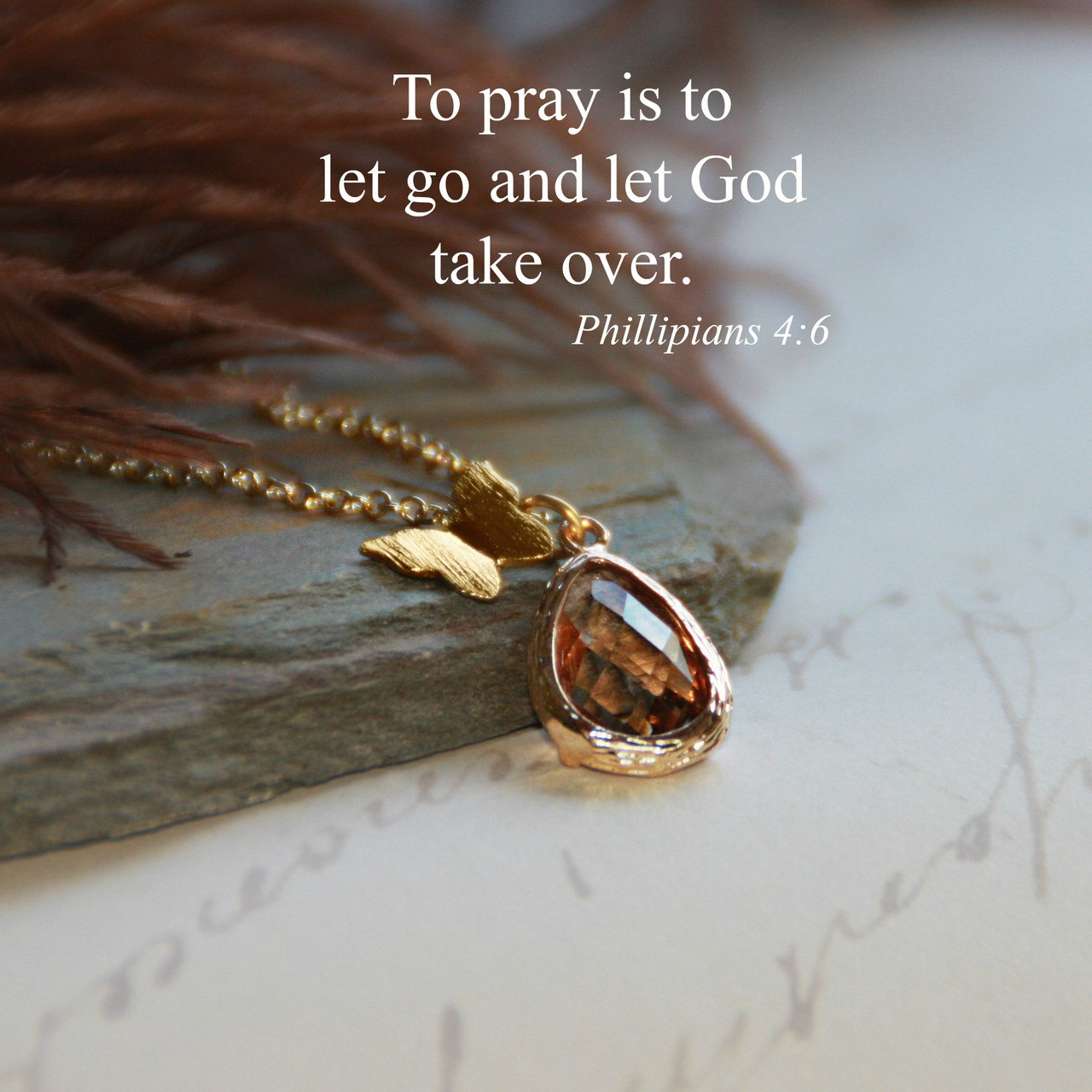 IN-536  Pray and Let God take over Butterfly Necklace in Golden tones