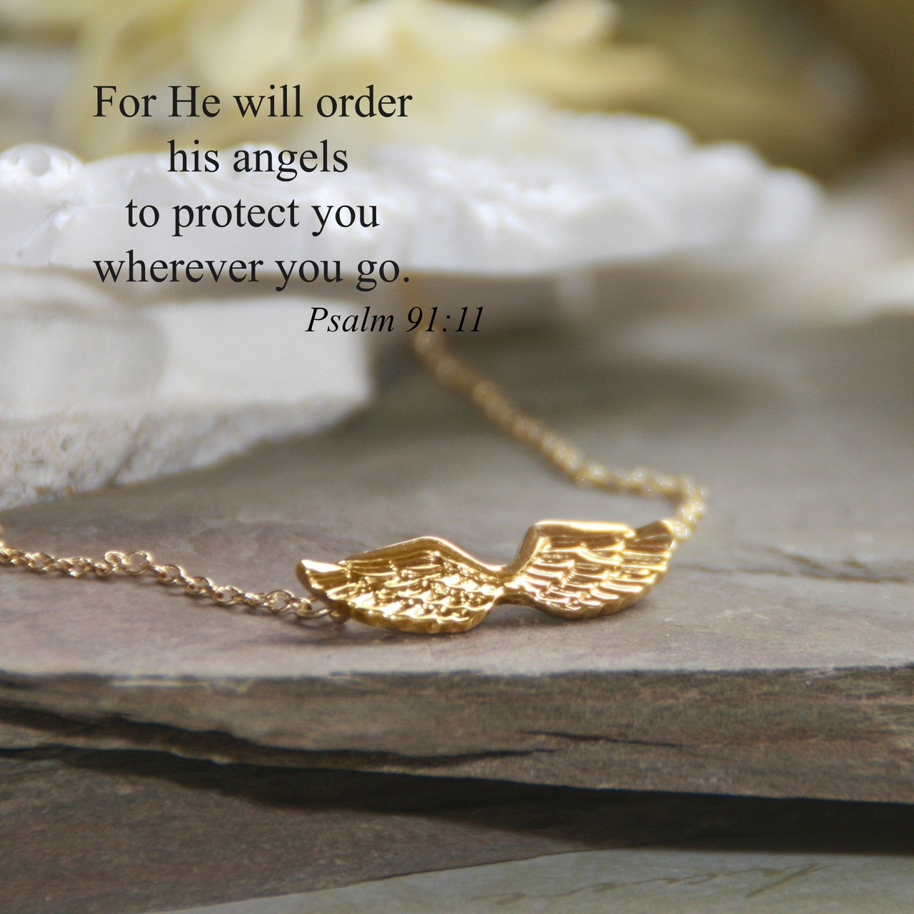 IN-540G  Angel Wings Necklace with Psalm 91:11 Scripture Gold Finish