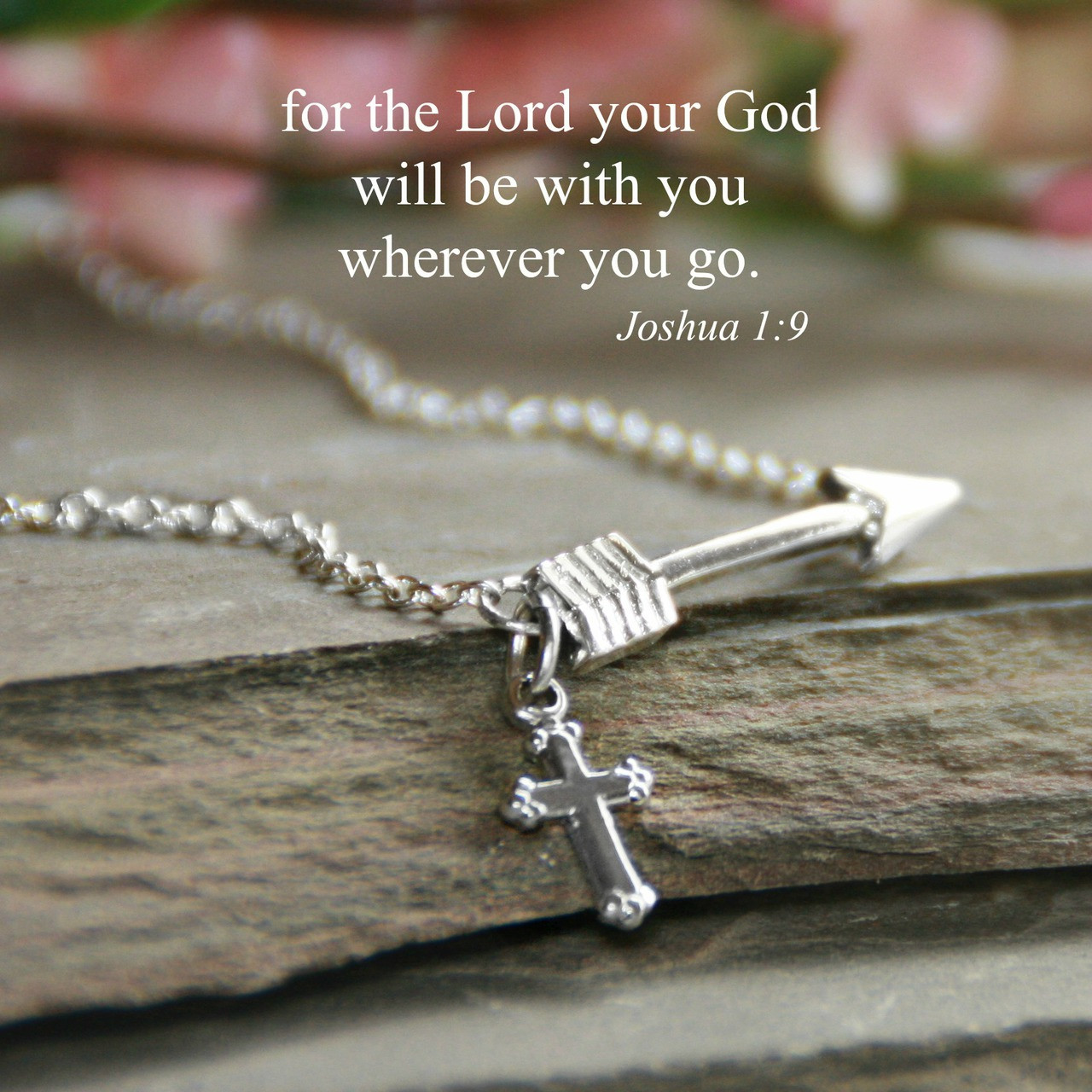 IN-539S  Arrow with Scripture Necklace Silver Finish