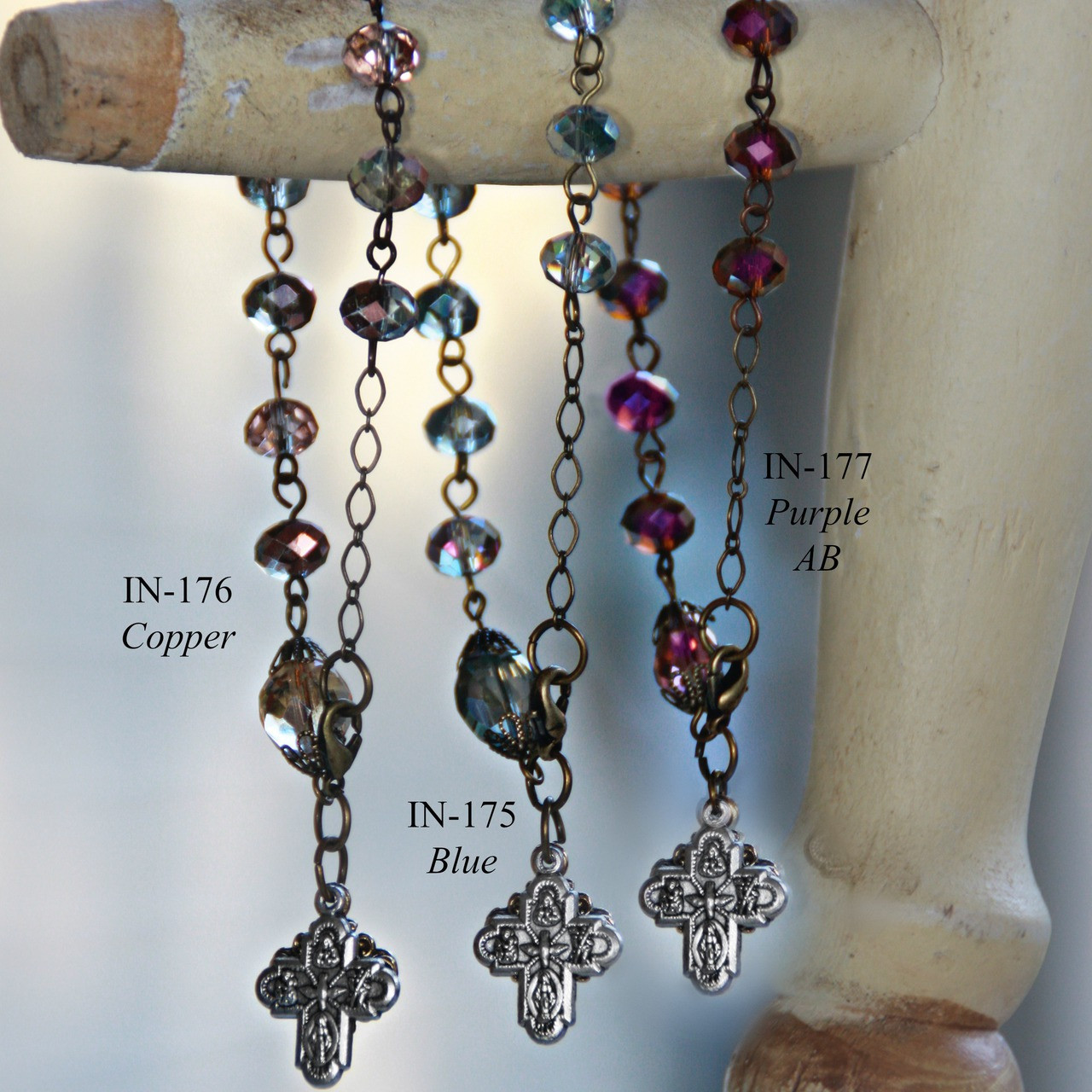 IN-175 Gorgeous Blues Rosary Bracelet