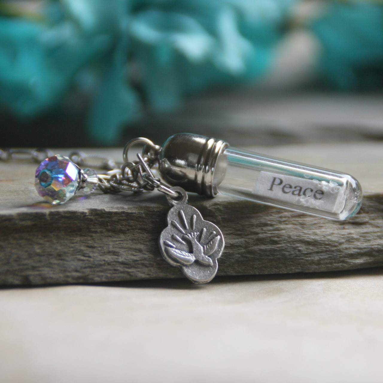MM-CC  Dove Message in a Bottle Necklace