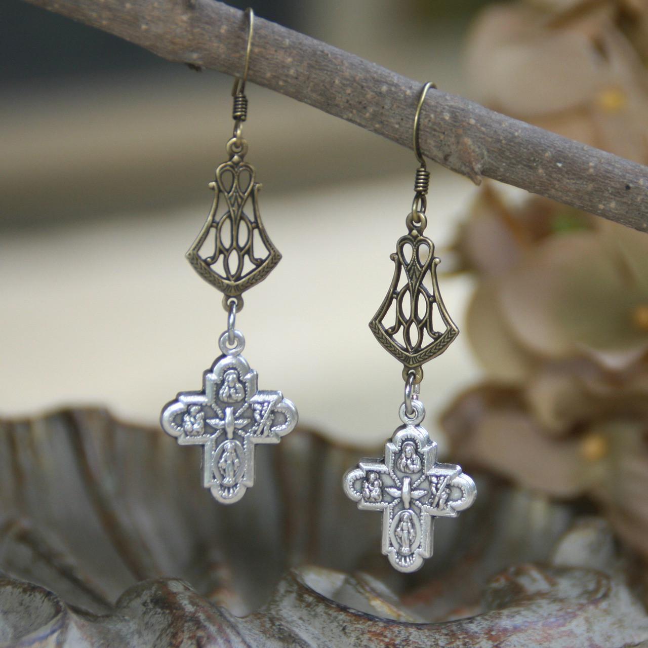 IN-61 Four Way Catholic Medal Earrings
