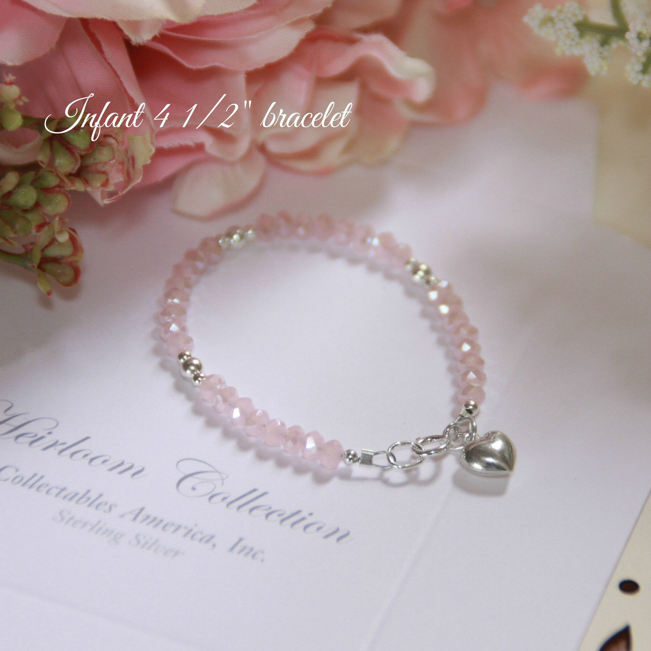 """STG-23HT  Matte Pink Crystals and Sterling Silver Puff Heart 4 1/2"""" Bracelet"""