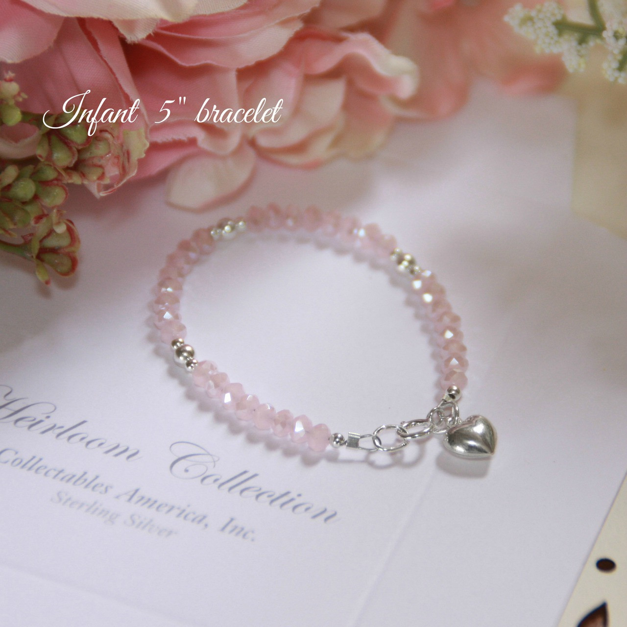 """STG-24HT  Matte Pink Crystals and Sterling Silver Puff Heart 5"""" Bracelet"""