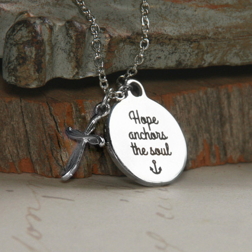 IN-553  Hope Anchors The Soul Necklace