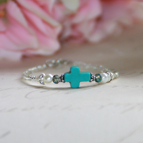 "CJ-520  Love this Turquoise Cross Splash of color for Baby 5"" Bracelet"