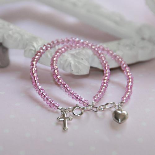 """STG-144HT  HEART Infant 41/2"""" Stunning Pink Crystal Sterling Silver Bracelet"""