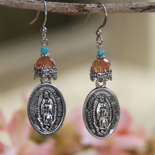 IN-98  Our Lady of Guadalupe Beaded Medal Earrings