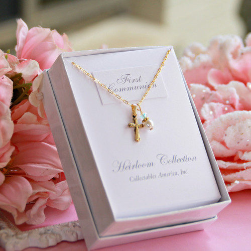 CJ-399  First Communion Gold Finish Cross and Pearl with a touch of Crystal Necklace