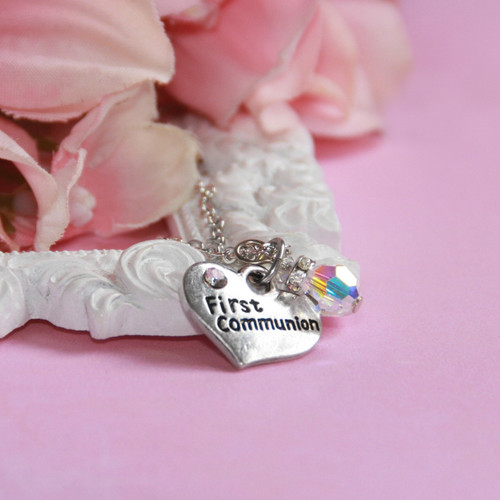 CJ-545  Heart First Communion Necklace with Crystal drop