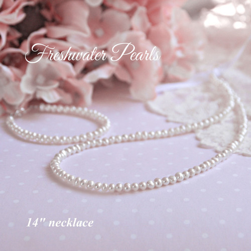 "STG-125  14"" Freshwater Pearls Necklace"