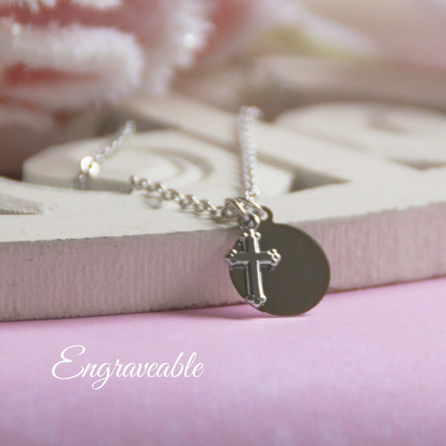 EG-7  Engraveable Stainless Disk and Sweet Cross Necklace