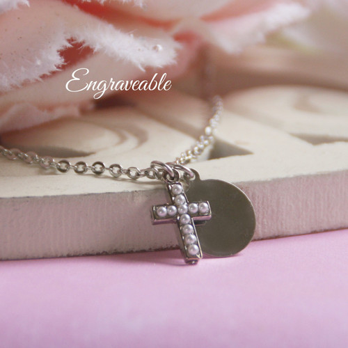 EG-3  Engraveable Stainless Disk and Seed Pearl Cross Necklace