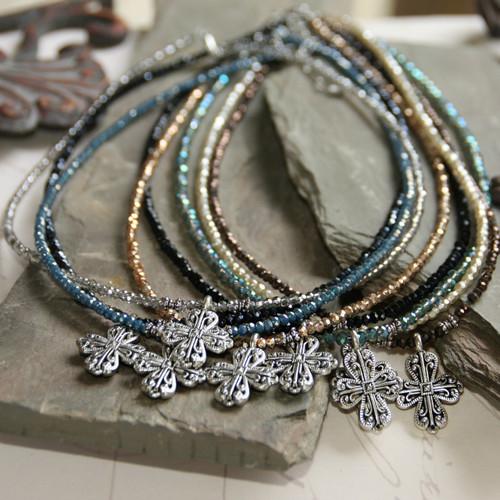 IS-33INBL  Indigo Blue Beaded Crystal Cross Necklace