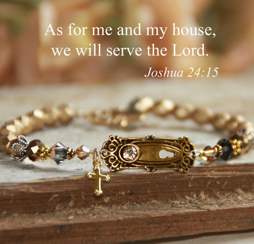 IN-392  As for Me and My House We will serve the Lord Gold finish Bracelet