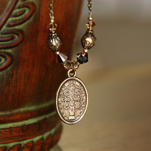 IN-568  St. Benedict Vintage Style Necklace