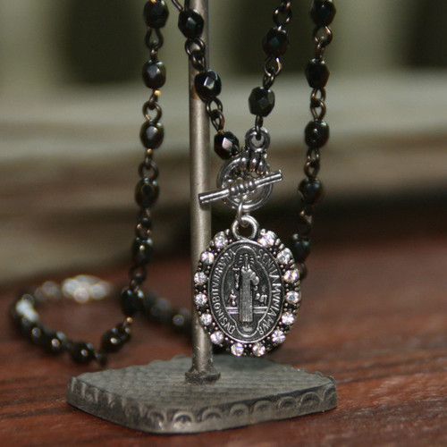IN-564 St. Benedict Necklace on Hematite Rosary Style Link Chain