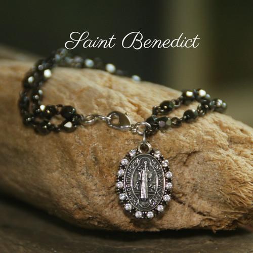 IN-385  St. Benedict Crystal Medal Bracelet