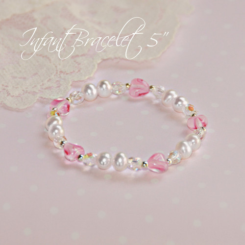 """STG-116 Top selling Infant 5"""" """"stretchy"""" Freshwater Pearls and Sterling Silver"""