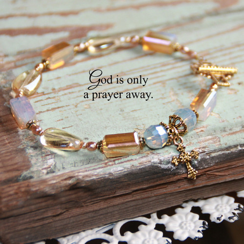 IN-399  God is only a Prayer away opal crystal beaded Bracelet