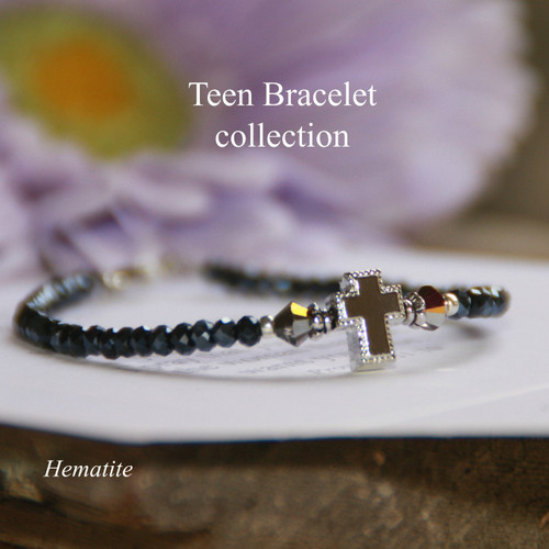 TN-2  Teen Prayer Bracelet-Hematite