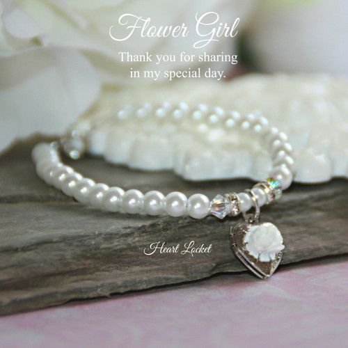 "CJ-160-6  Flower Gril 6"" Bracelet with Heart Locket"