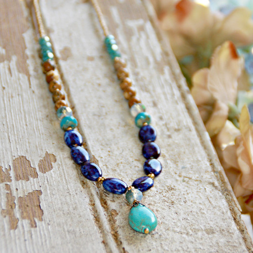 IS-375  Mutlti stone beautiful Beaded Necklace with Turquoise Drop