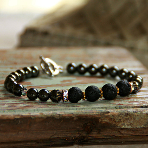 BR-35  Essential Oil Diffuser Bracelet with Magnetic Hematite