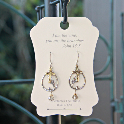 FER-412  I am the Vine Message Earrings
