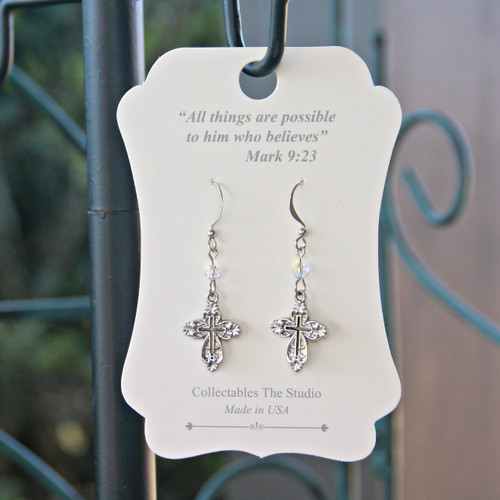 FER-409  All things are possible Message Earrings