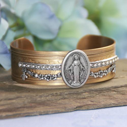 ART-166  Mary Medal Elegant Cuff Bracelet