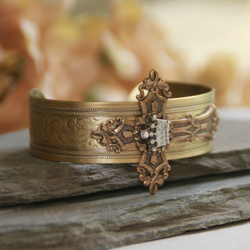 ART-167  Large Cross with Crown Cuff Bracelet