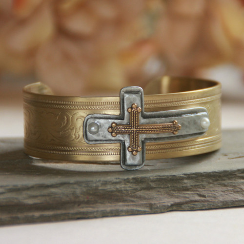 ART-168  Classic Layered Cross Cuff Bracelet