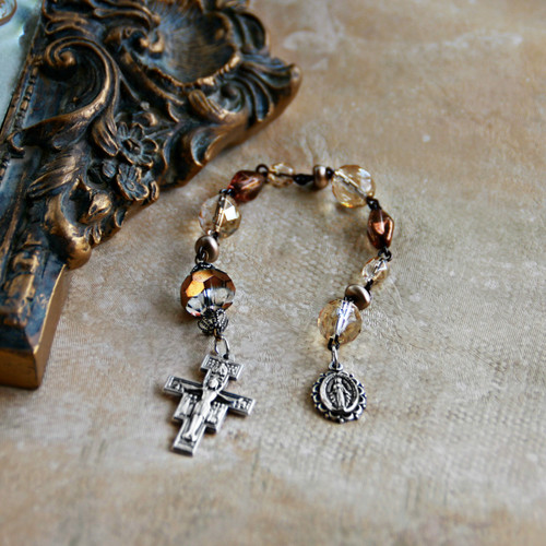 IN-803 Catholic Chaplet Brown Crystals