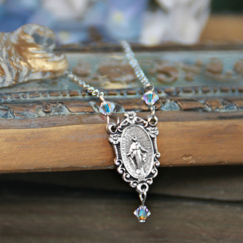 IN-581  Mary Dainty Necklace with Swarovski Crystals AB