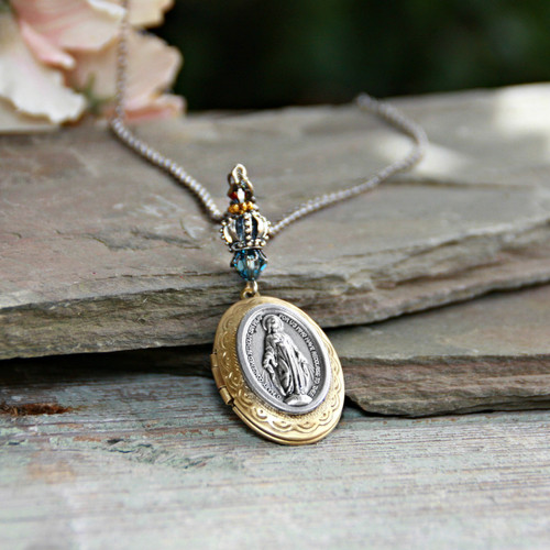 IN-644  Mary with Crown Locket Necklace