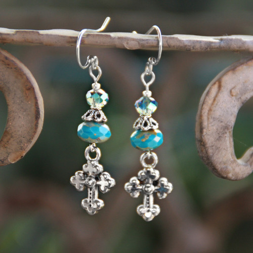 IN-86  Love the Cross Earrings with Beautiful Crystals