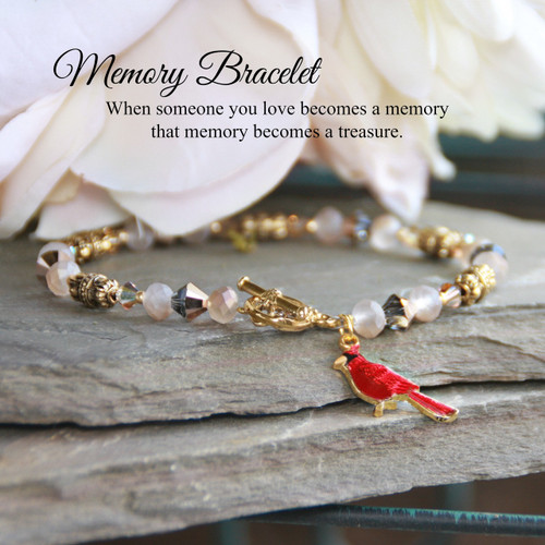 IN-714  Memory Bracelet with Cardinal and beautiful Message
