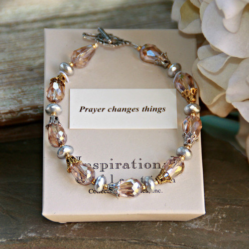 IN-712  Silver and Gold and Crystals too! Prayer changes Things Bracelet