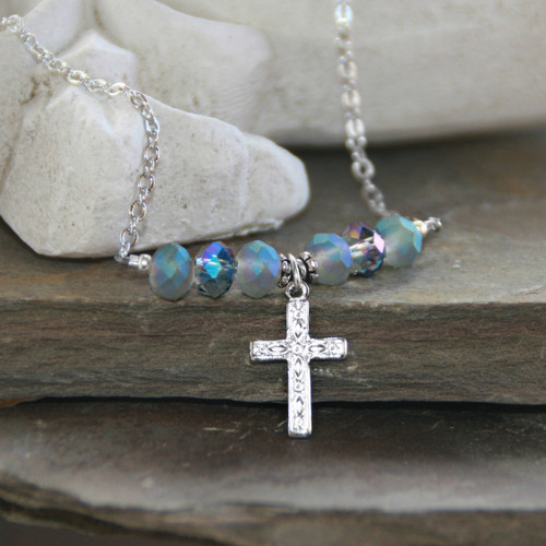 IN-592  Heavenly Blue Crystals Cross Necklace