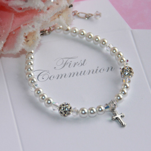 CJ-178  First Communion Glass Pearl Bracelet with Crystals