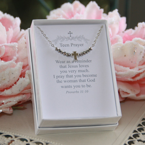 TN-11 Teen Prayer Necklace Silver Crystals