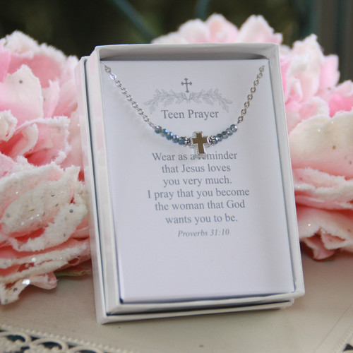 TN-12  Teen Prayer Necklace Blue Crystals