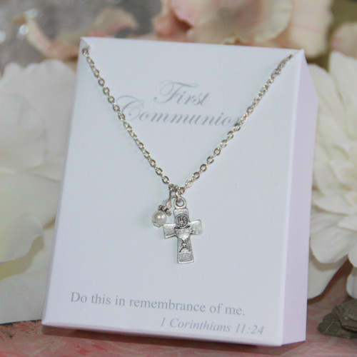 CJ-175  First Communion Medal with Pearl and Crystal Necklace
