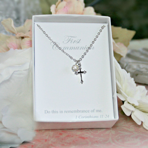 CJ-177 First Communion Cross and Crystal Bead Necklace