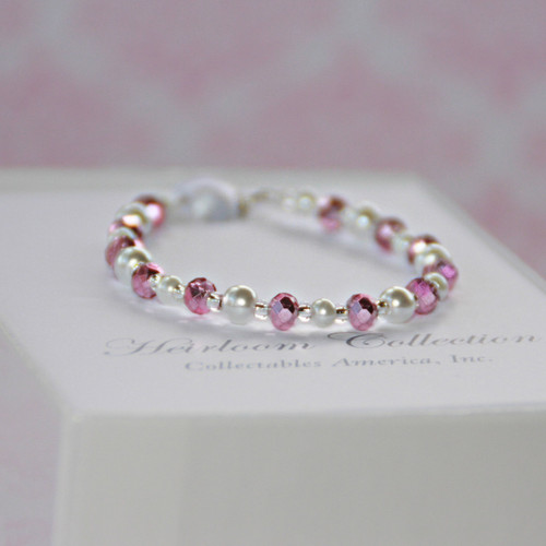 """CJ-183  I love this New Pink Crystal and Glass Pearl 5"""" Bracelet"""